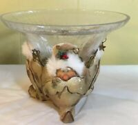 Santa Christmas Candy Bowl Glass - Woodlands Birch Bark - Beautiful!