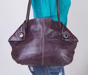 FERCHI Medium Brown  Leather Shoulder Hobo Tote Satchel Purse Bag