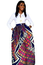 Stylish Diagram Block African Print Maxi Skirt Size UK 10-12