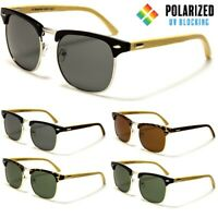 Polarised Sunglasses - Retro Half Rimmed Frame - Wooden Arms - Polarized Lens