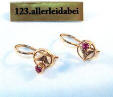 Hübsche Russische Spinell Ohrringe 583 er Rotgold Gold Ohrhänger Stern / BF 287