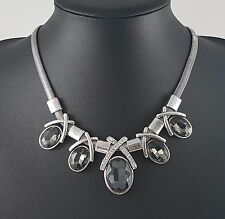 Antique Silver Snake Chain Dark Grey Oval Stone and Diamante Statement Necklace