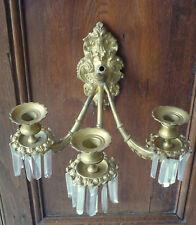 Paire d'appliques en bronze doré et pampilles , style Louis XV
