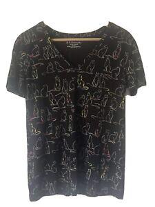 Philosophy Cat Print T Shirt Size M