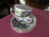 Rosina Bone China Cups Saucers Lot/6 Purple Roses England For Pet Rescue