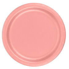 "24 Plates 6 7/8"" Paper Dessert Plates Wax Coated - Rose"
