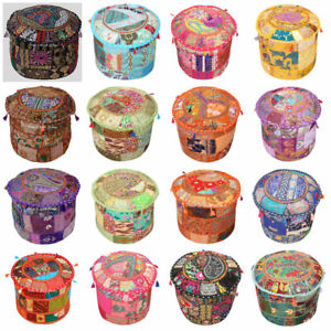 Indian Mandala Pouf Ottoman Pouffe Poof Round Pouf Foot Stool Pouf Decorative