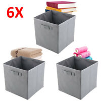 6pcs Grey Foldable Simple storage basketSquare Folding Box Fabric Cubes Toys UK