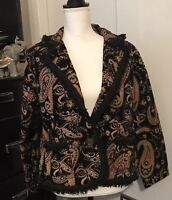 Chico Woman's Blazer Jacket Size Large One Button Paisley Tapestry Fringe Career