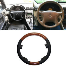 Black Leather Brown Wood Steering Wheel Cover 00-07 Benz W203 C 200 230 280 350