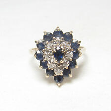 Estate 14K Yellow Gold Natural Pear, Round Blue Sapphire Diamond Ring 1.55 Cts