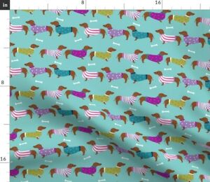 Dachshund Doxie Dog Dogs Dog Sweater Dachshunds Spoonflower Fabric by the Yard