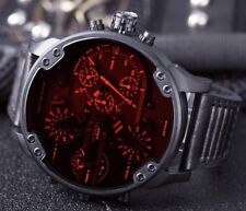 DIESEL DADDY DZ7402 CHRONO RED IRIDESCENT DIAL BLACK STAINLESS MENS WATCH NEW