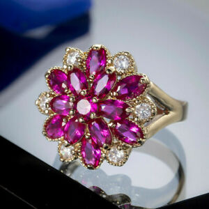 3Ct Marquise Cut Red Ruby Flower Cluster Engagement Ring 14K Yellow Gold Finish