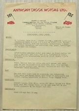 FIAT/ABARTH 2200 COUPE Anthony Crook Motors Ltd Specification Sheet c1960