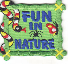"""FUN IN NATURE"" PATCH - Iron On Embroidered Applique Patch/School, Learning"