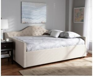 ELIZA MODERN AND CONTEMPORARY LIGHT BEIGE FABRIC UPHOLSTERED FULL SIZE DAYBED