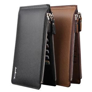 Leather Men Wallets Clutch Double Zipper Credit Cards Holder Bifold Wallet Purse
