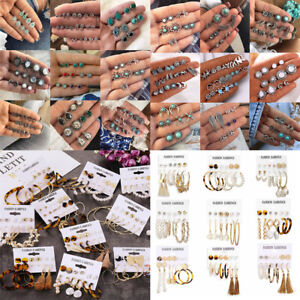 Women's Geometric Shell Tassel Acrylic Pearl Earrings Set Fashion Jewelry Gift