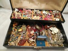 Vtg Jewelry Box Full Retro to Current Bracelets Pierced and Clip Earrings