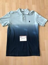 A BATHING APE APEHEAD GRADIENT DIP DYE PIQUE POLO BLUE - XL 100 AUTHENTIC