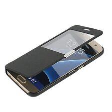 S7 Case, Galaxy S7 case, MTRONX Window View Magnetic Closure Ultra Folio Flip Sl
