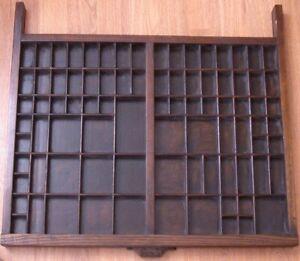 Vintage Wooden Printers Drawer Letterpress Type Set Tray Shadow Box Hamilton Mfg