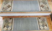 """Grey Stair Treads by Rug Depot - Set of 7 Wool Non Slip Carpet Treads 30"""" x 9"""""""