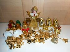 VINTAGE GOLD ANGEL TREE TOPPER GARLAND & 18 SWAN BELLS CHRISTMAS TREE ORNAMENTS