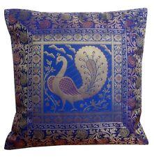 """16"""" Indian Brocade Silk Cushion Cover Zari Embroidery Throw Pillow Boho Decor"""