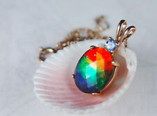 Genuine Canadian GRADE AA Ammolite Jewelry Pendant 10K Yellow Gold. #062226**