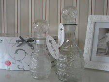 2er Set Glas Flasche, Dekanter, Likörflasche, Karaffe, Wasserkaraffe, dekorativ