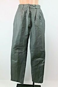 Vtg 80's 90's TOFFS Size P 6 Gunmetal Gray LEATHER Pants High-Waist Tapered
