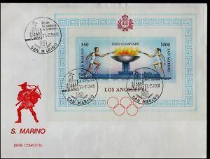 San Marino 1988 Los Angeles 1984 MS on Cover