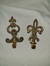 "2 Antiqued Gold Metal Fleur-De-Lis Wall Hooks 4 3/4"" & 5"""