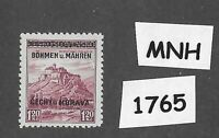 #1765 MNH 1939 Overprint stamp 1.20 KR BaM Protectorate / Third Reich occupation