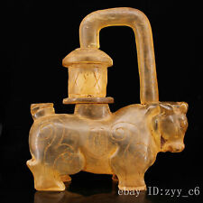 China Old collection Old palace Unearthed crystal Hand carved Cow palace lamp