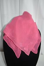 pink embroidered borders handkerchief head wrap scarf Made in India New