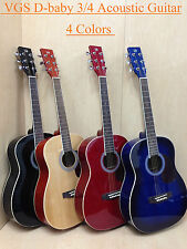 VGS Mini Acoustic Guitar D-baby Red, 3/4 Size + Free Gig Bag, Extra String Set