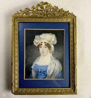 Antique ID'd LG English Portrait Miniture, Fine French Bronze Frame, Dated 1837