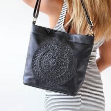 Genuine Leather Womens Large Black Tote Bag Boho Mandala Shoulder Strap Handbag