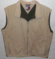 Vintage Tommy Hilfiger Full Zip Vest Fleece Lined Beige Jacket Men's Size XL