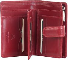 VISCONTI LADIES SUPERIOR QUALITY RED LEATHER PURSE MZ-11, 10 CARD SLOTS , NEW!