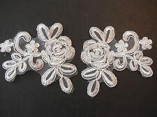 A Pair of ivory floral lace appliques / lace motifs are for sale 9cm x 8cm