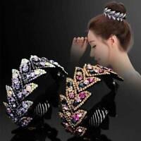 Women's Crystal Rhinestone Hair Clips Claw Clamp Bun Ponytail Holder Jewelry