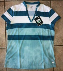 Womens Puma Dye Stripe UPF 50+ Golf Polo Blue 597702-03 Sz L NWT $60
