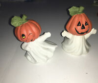 1988 Pair Of Enesco Halloween Ghosts w/ Pumpkin Heads Figurines Taiwan FUN!