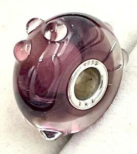 """Trollbeads """"Purple Flower Bud"""" glass Bead/Charm_925 sterling silver"""