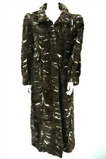F10998 Mink Real Fur Size XL Women Luxury Swing Long Coat Brown Ivory