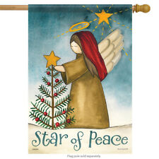 "Star of Peace Christmas House Flag Double Sided Primitive Angel Tree 28"" X 40"""